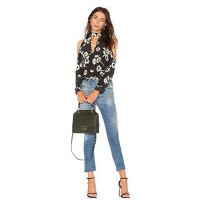 NWT-Yumi Kim Floral Cold Shoulder V Neck Blouse